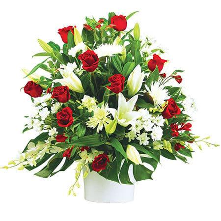 Lush Elegant Chapel Arrangement by Sydney`s Top Funeral Florist