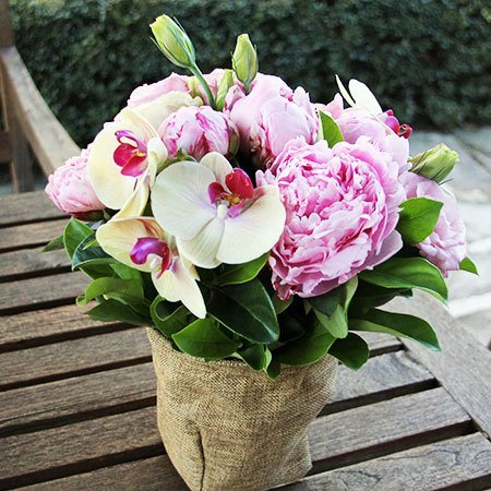 Madame Butterfly Flower Arrangement with Peonies and Orchids