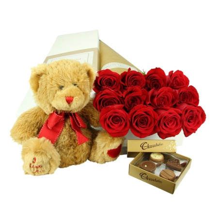 One Dozen Valentines Day Roses Teddy and Chocolates
