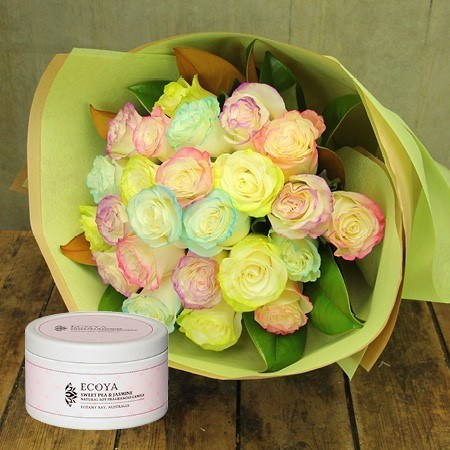 Marshmallow Rose Bouquet with Free Candle (Sydney Only)
