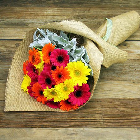 Mini Gerbera Bouquet with Free Candle Offer