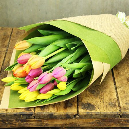 Mixed Tulip Bouquet with FREE Ecoya Candle
