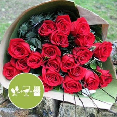 Moulin Rouge Medley - Red rose bouquet with chocolates and wine