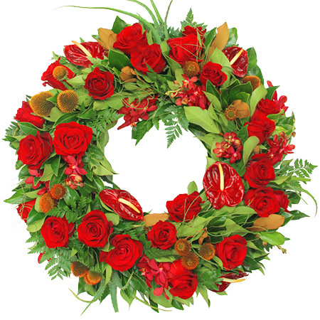 Natural Red Sympathy Wreath