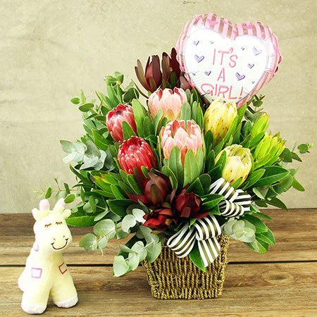 Nature Girl Native Flowers with Toy Giraffe and Balloon Delivered
