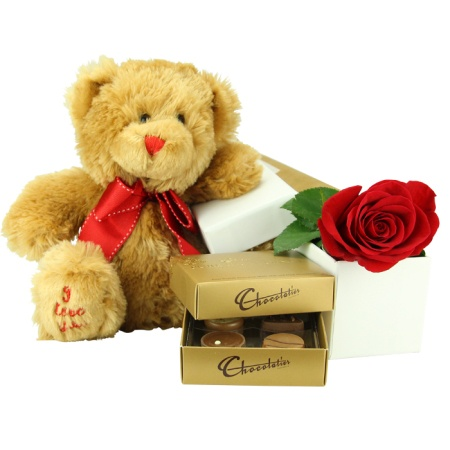 Valentines Day Rose, Teddy and Chocolates