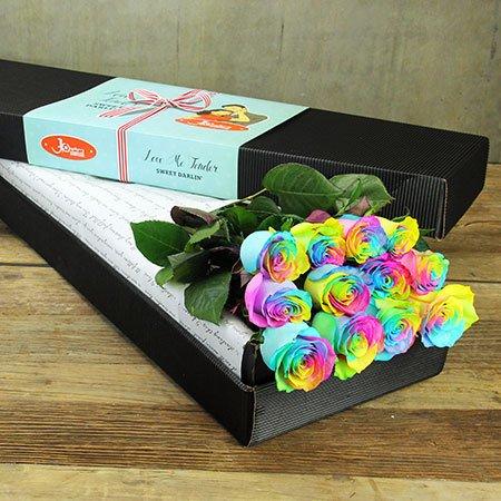 Long Stem Rainbow Roses