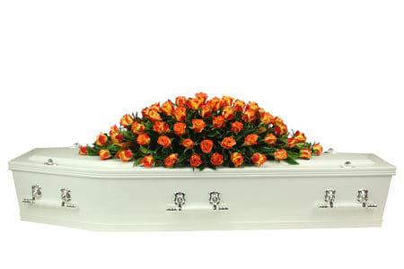 Orange Rose Casket Flowers