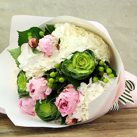 Peony and hydrangea bouquet delivered in Sydney