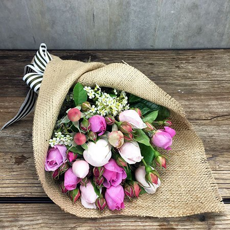 Pink and White David Austin Rose Posy (Sydney Only)