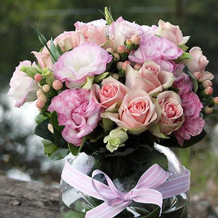 Pink Fishbowl Vase with FREE ECOYA Candle
