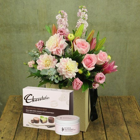Pink Flowers with Free Chocolate and Candle (Sydney Only)