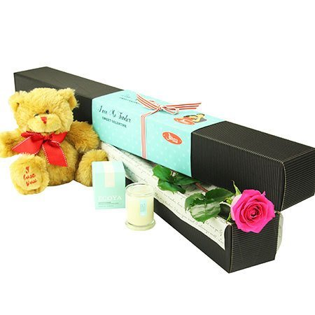 Single Pink Rose with Love Bear (Sydney Only)