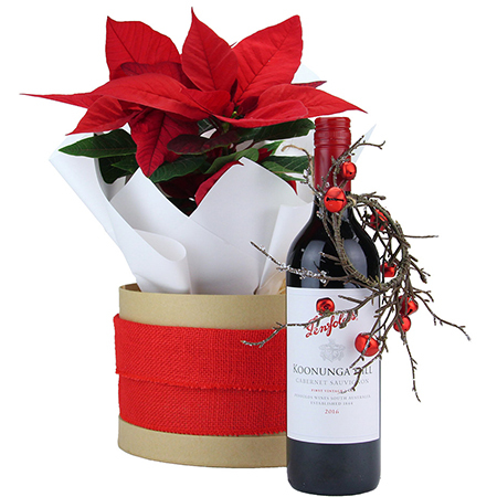 Christmas poinsettia plants and wine delivered in Sydney