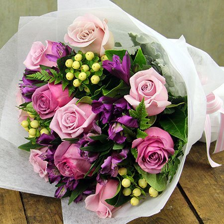 Pretty Purple Posy with Free Candle (Syd, Melb, Perth Only)