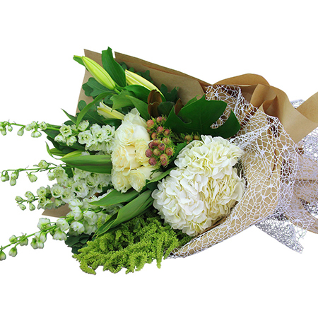 Pure Abundance Fresh White and Green Flower Bouquet Delivered for Xmas