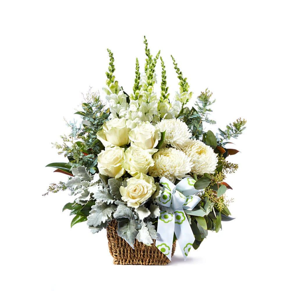 Pure White Flower Basket Delivered