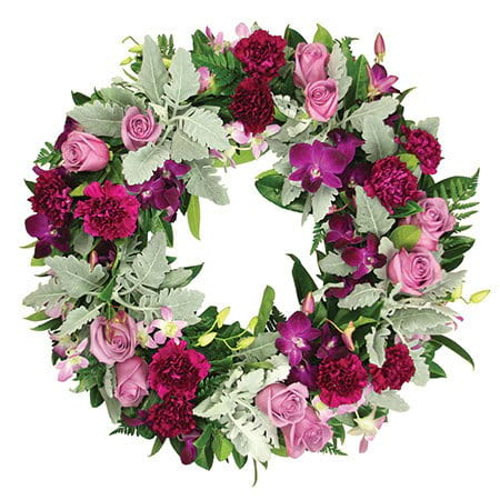 Purple and Silver Funeral Wreath
