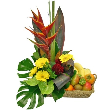 Sympathy Flower Arrangements on Iflowers   Exotic Fruit   Flowers Basket Arrangement
