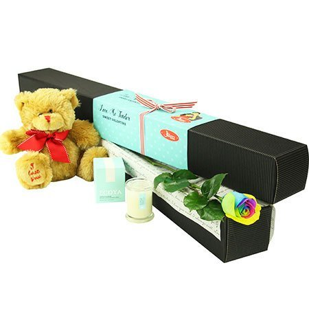 Rainbow Long Stem Rose with Love Bear (Sydney Only)