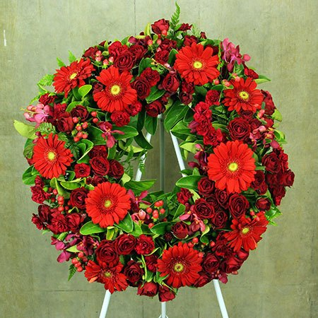 Red Floral Sympathy Wreath
