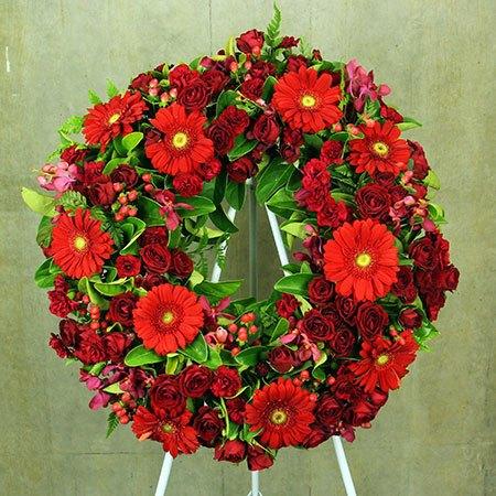 Red Floral Sympathy Wreath