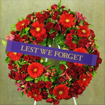Red Anzac Day Wreath