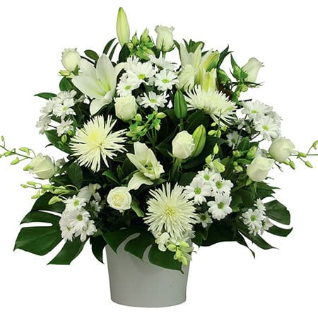 Seasonal White Flower Pot