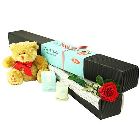Single Red Rose with Love Bear (Sydney Melbourne Perth Only)