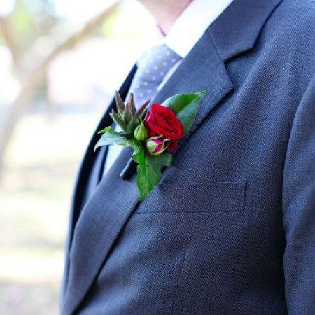 Spray Rose & Succulent Buttonhole