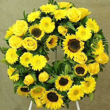 Sunflower Yellow Sympathy Wreath