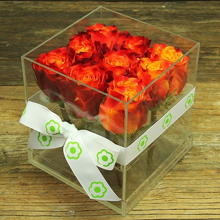 Sunset Orange Rose Cube Flowers Delivered