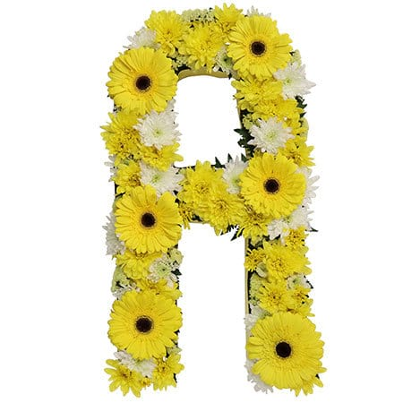 Sunshine Yellow Floral Alphabet Letters for Sydney Funerals
