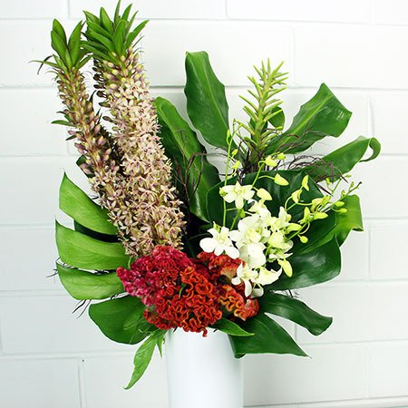 Front Facing Tropical Vase Arrangement Portolio