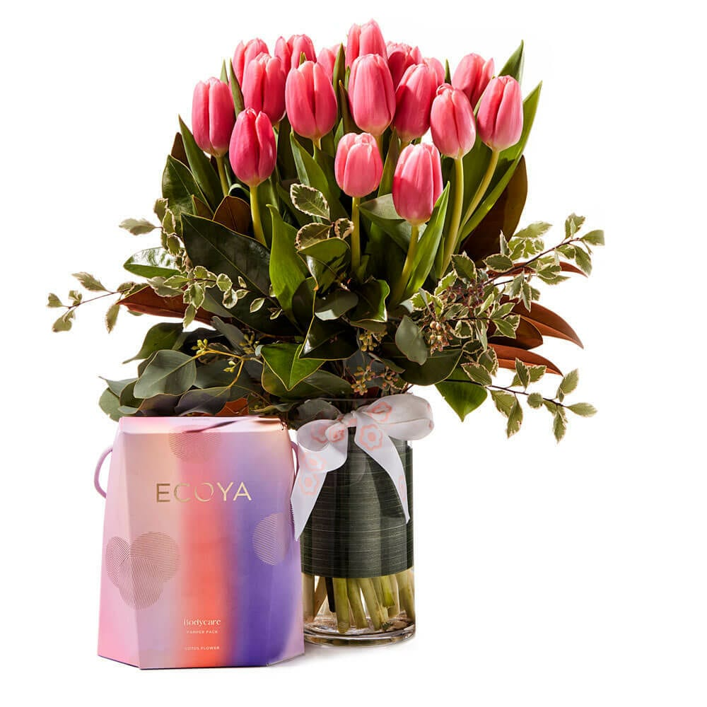 Gorgeous gift wrapped tulip bouquet