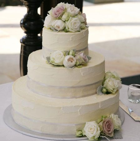 Three Tier Cake with Antique Roses & Silver Satin Edge Ribbon (Large)