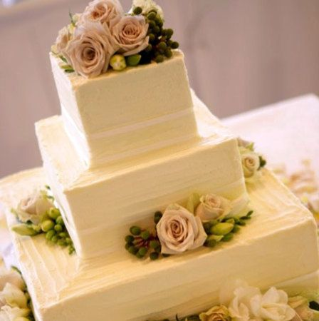 Three Tier Square Cake (Large) with Antique Roses & Ivory Ribbon Trim