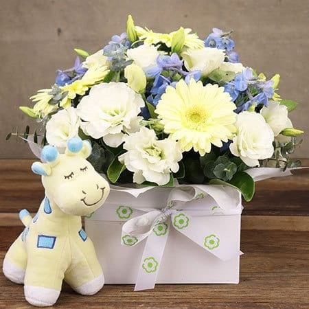 White and Blue Flowers for New Baby with Giraffe Toy