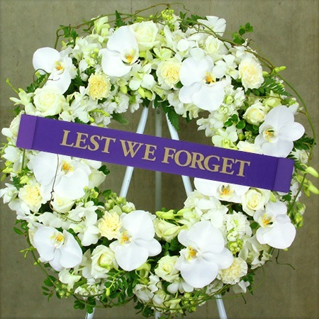 Tropical White Anzac Day Wreath Delivered
