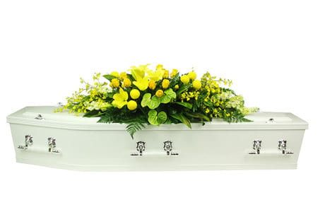Tropical Yellow Funeral Casket Flowers