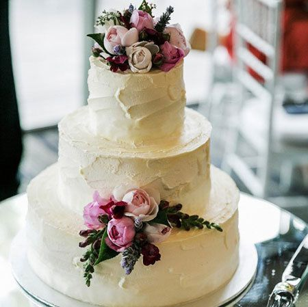 Two Tier Cake with Ivory, Pink & Lavender Flowers (Medium)