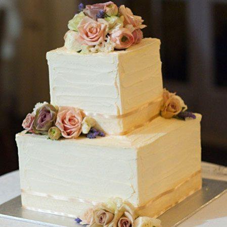 Two Tier Cube Cake (Medium) with Antique Roses & Lavendar