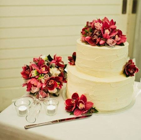 Two Tier Cylinder Cake with Burgundy Cymbidium Orchids & Antique Roses