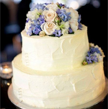 Two Tier Wedding Cake with Ivory & Pale Blue Flowers (Medium)
