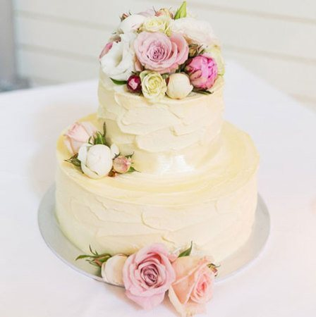 Two Tier Wedding Cake with Pink & White Flowers