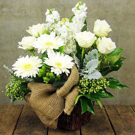 White Flower Arrangement of Roses & Lilies