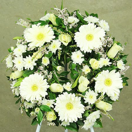White Gerbera and Rose Wreath Funeral Flower Delivery