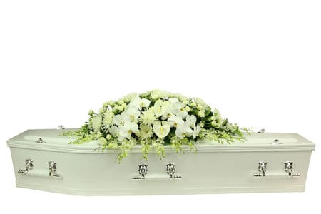 White Orchid Casket Flowers