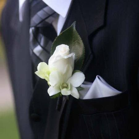 White Rose & Singapore Orchid Buttonhole
