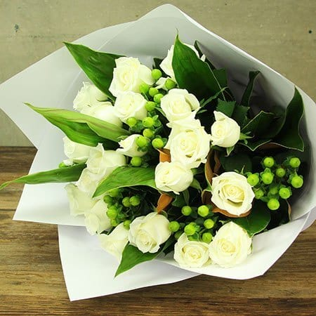 Fresh White Rose Bouquet Delivered